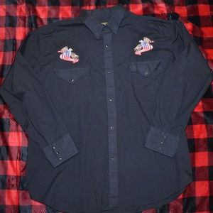 Mens Round'em Western Shirt Eagle/Flag Sz LARGE